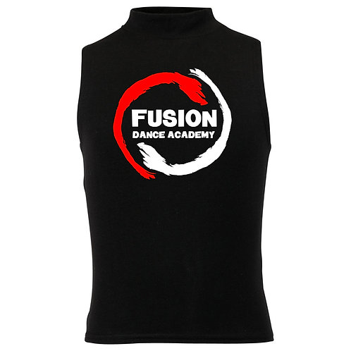 Adult's Fusion Black High Neck Crop Vest