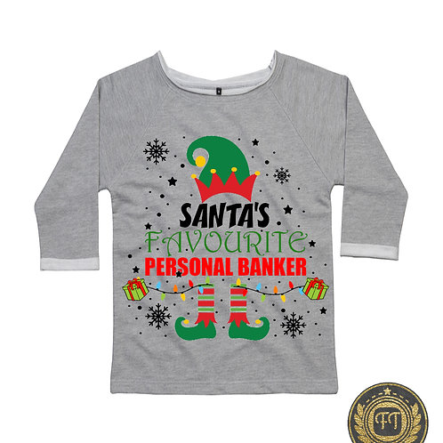 Ladies - Santa's favourite banker - Flash Dance Sweatshirt