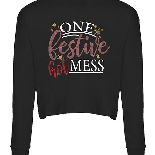 One Festive Hot Mess -  Long Sleeve Cropped T-Shirt