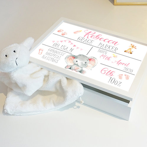 Personalised Pink Birth Keepsake Box