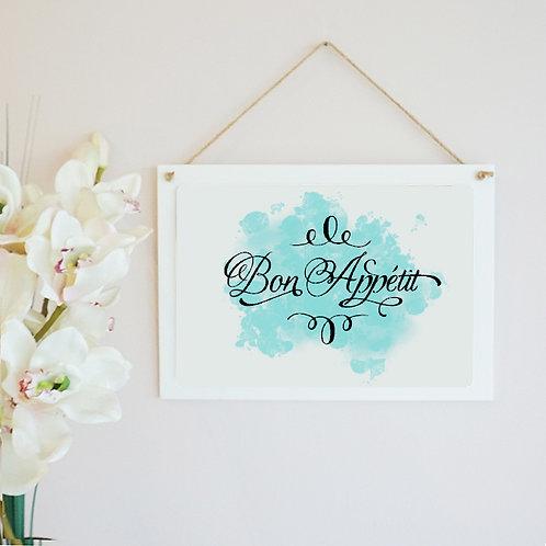 Bon Appétit Wooden Hanging Frame
