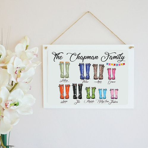 Wooden Personalised Family Welly Print Hanging Photo Frame