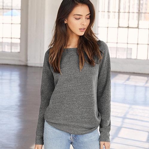 Ladies Tri-Blend Sponge Fleece Wide Neck Sweatshirt