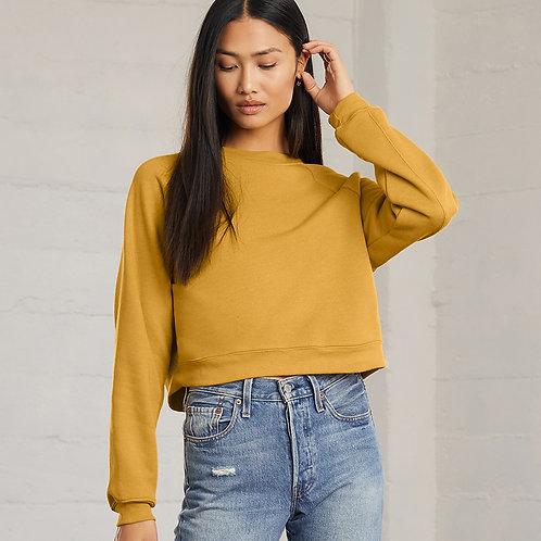 Ladies Raglan Cropped Pullover Sweatshirt