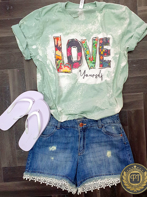 Love Yourself- Distressed T-shirt