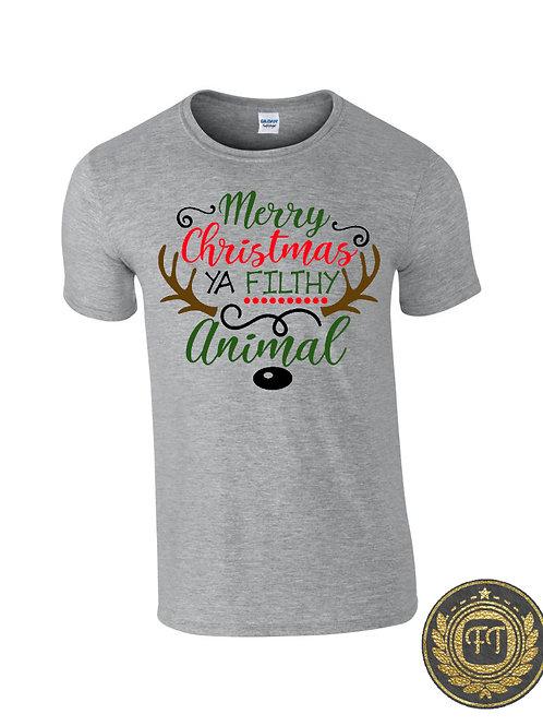 Mens - Merry Christmas ya filthy animal - Tshirt