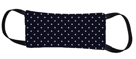 Máscara Cirúrgica - Poá Azul Marinho