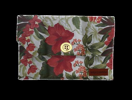 Porta Máscara P - Flores Vermelhas