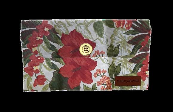 Porta Máscara M - Flores Vermelhas