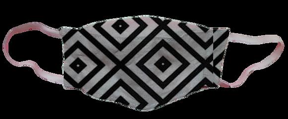 Máscara 3D - Geométrico Preto e Branco
