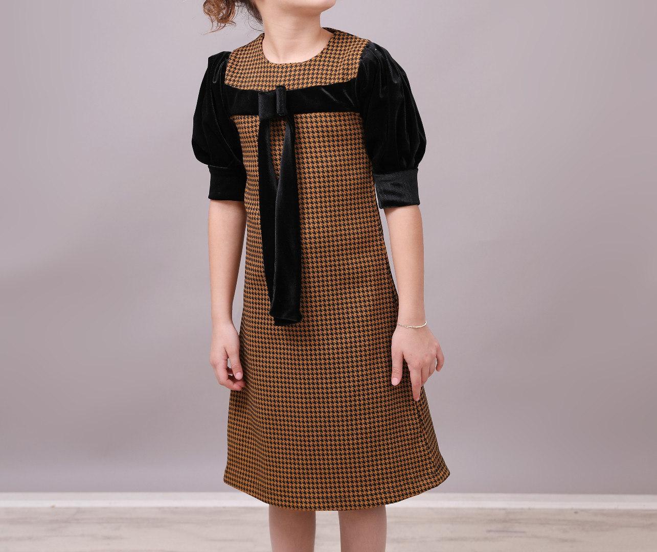 שמלה עלמה שרוול קטיפה