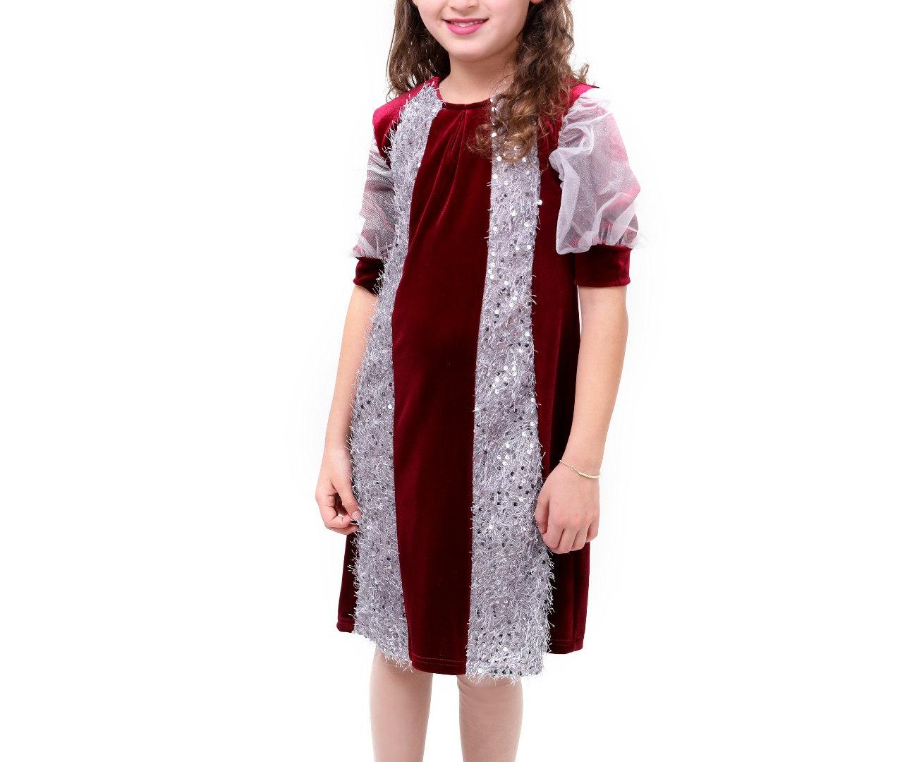 שמלת קטיפה משולבת  malaya | מאליה אופנת ילדים
