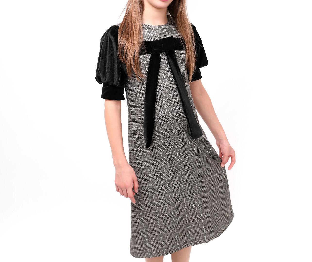 שמלה עלמה שרוול קטיפה malaya | מאליה אופנת ילדים