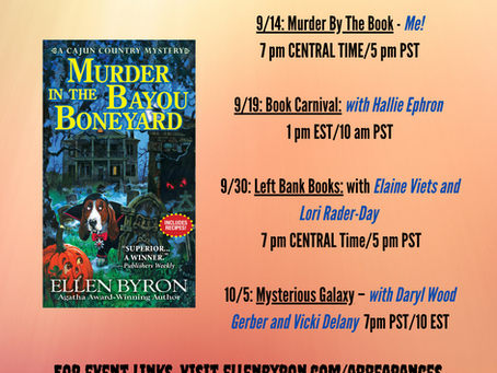 Murder in the Bayou Boneyard has launched! Join me on my Virtual Blog Tour...