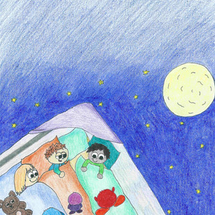 """"""" Hmm, muss ich wohl geträumt haben…"""", überlegt Pauli denn Mina und Milo schlafen noch selig. Er kuschelt sich wieder in seinen Polster und kippt schon fast wieder ins Land der Träume als plötzlich wieder… """"Bipob! Hihi! Bipob!, ertönt. Diesmal war es lauter, alle drei Kinder haben es gehört und sitzen aufgerichtet in ihren Schlafsäcken! """"Was zum Kuckuck war das?!"""", flüstert Milo völlig überrascht. Doch er hatte die Frage noch nicht einmal ganz zu Ende ausgesprochen, als plötzlich drei kleine wuschelige, runde Geschöpfe vor ihnen stehen und sich kugelig kichern. Dieses Gekicher hat so etwas stark Ansteckendes an sich, dass die Kinder gar nicht anders können außer laut mitzukichern!"""