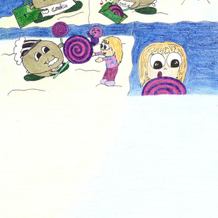 """Und er ist es tatsächlich. """"Bibi di papti bo!"""", begrüßt er Ready, Jolly und Bubble freudig. Sie tauschen ein paar Worte in ihrer amüsanten Sprache aus und dann wendet sich Cookie mit einem Lächeln an die Kinder """" Hallodrio! Willkommen auf dem Mond! Ich freu mich sehr, dass die Drei euch mitgebracht haben! Umso mehr Gäste, desto besser! Die Regeln hier sind ganz einfach:  """"Macht einfach alles, was euch Freude bereitet und was auch immer ihr gerne essen, trinken oder naschen möchtet - gebt mir Bescheid und ich zaubere es euch!"""" Milo, Pauli & Mina sehen sich verwundert und erfreut an. Mina will das testen: """" Okay. Wenn das so ist, hätte ich bitte gerne einen Schlecker, der so groß wie mein Gesicht ist!"""", sie muss sofort lachen, weil sie gar nicht glaubt, dass das geht.  Cookie lächelt, zieht einen Minikoffer hervor, tippt 3mal mit den Finger darauf - wodurch dieser groß wird- öffnet ihn und hält Mina einen kunterbunten, riesigen Lolli vor das Gesicht. Auch Jolly gibt er einen, weil er weiß, dass sie Schlecker liebt. Alle beginnen zu kichern als Mina vor Überraschung fast doppelt so große Augen bekommt. Sie gehen zu dem großen Tisch, welcher mit vielen lecker aussehenden Speisen bedeckt ist, und gesellen sich zu den anderen Gästen…."""