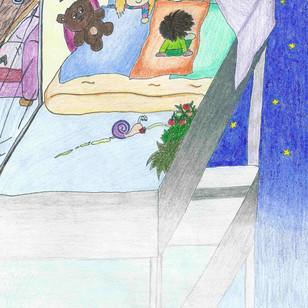"""Etwas später kugeln die Drei am Balkon in ihrem Lager herum. Sie haben noch eine Weile gespielt, gut geschmaust und jetzt sind sie schon etwas müde, aber das würde natürlich keiner von ihnen zugeben… """"Ich bleib´ heute die ganze Nacht munter und warte ab, ob der Mond mit mir spricht!"""", sagt Mina entschlossen, unterdrückt dabei jedoch schon ein Gähnen. Mama Leaves hat ihren Kindern immer wieder erklärt, dass jedes Lebewesen und einfach alles was ist, seine eigenen Geschichten in sich trägt. Seitdem versucht Mina häufig diese Geschichten von Blumen, Bäumen, (Stoff-) Tieren,… usw. zu Ohren zu bekommen und hat dadurch schon so manch Spannendes erlebt. """"Ich auch, ich auch!"""", rufen die Buben."""