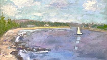 Suzanne G. Roberts, Sailing at Seawall, oil, 11x14