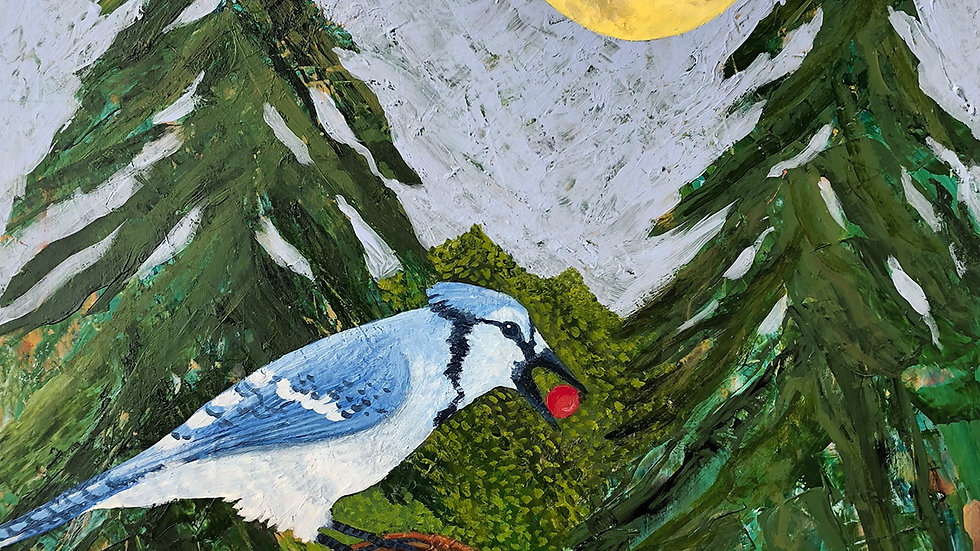 Sally Brophy, Blue Jay Delivers Berry, acrylic, 12x12