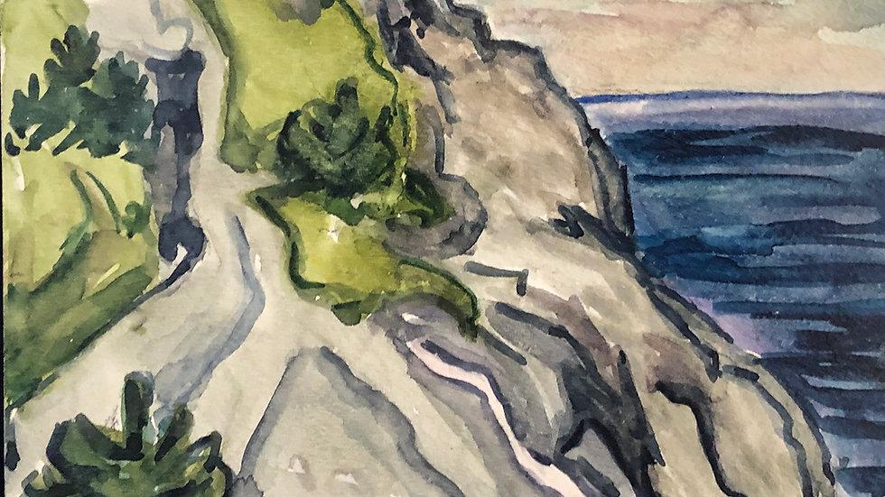 James Toothacker, White Head Monhegan, watercolor, 7x7 framed