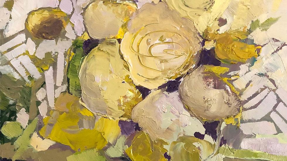 Betty Schopmeyer, Vase of Yellow Blooms, oil, 6x6