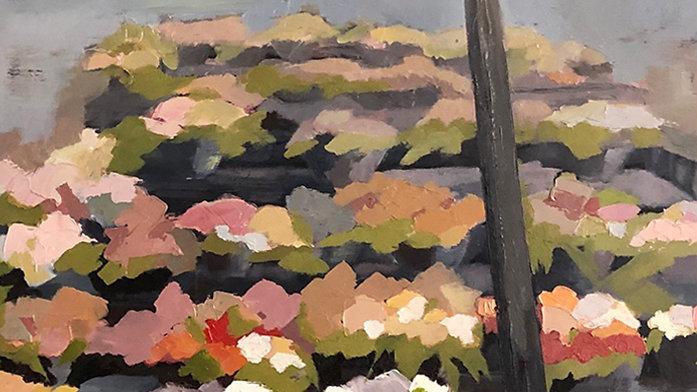 Betty Schopmeyer, Flowers for Sale, oil, 10x20