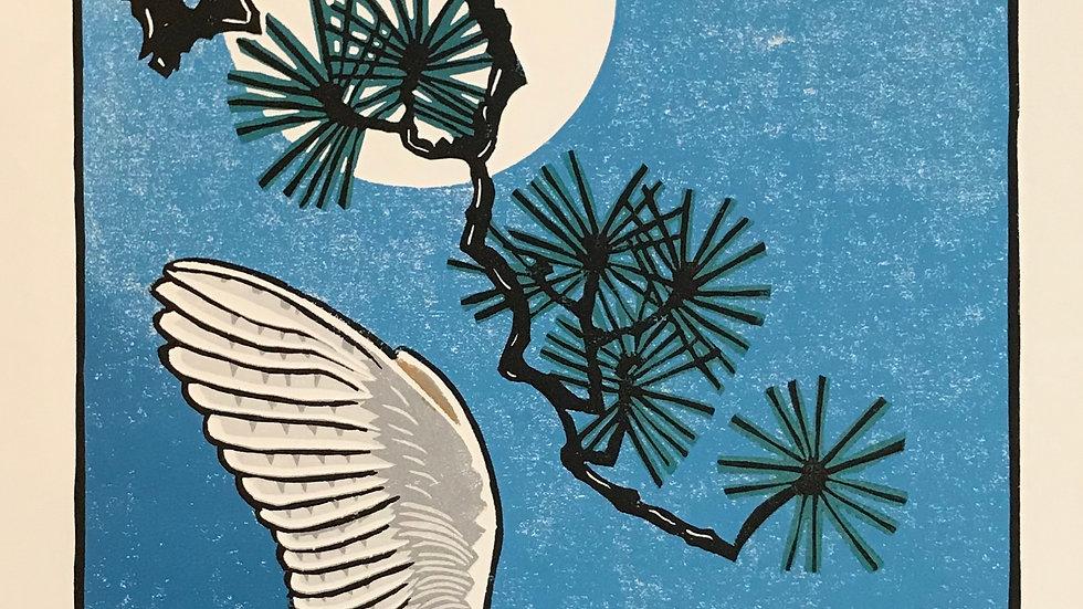 Leslie Moore, Barn Owl Nocturne, linocut, 23x25 (frame size)