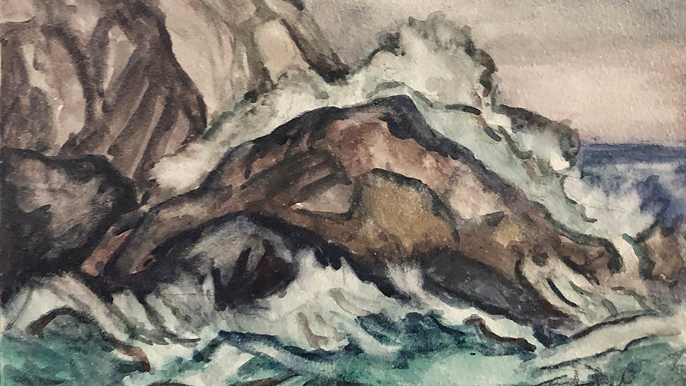 James Toothacker, Waves and Rocks, watercolor,6x8 framed