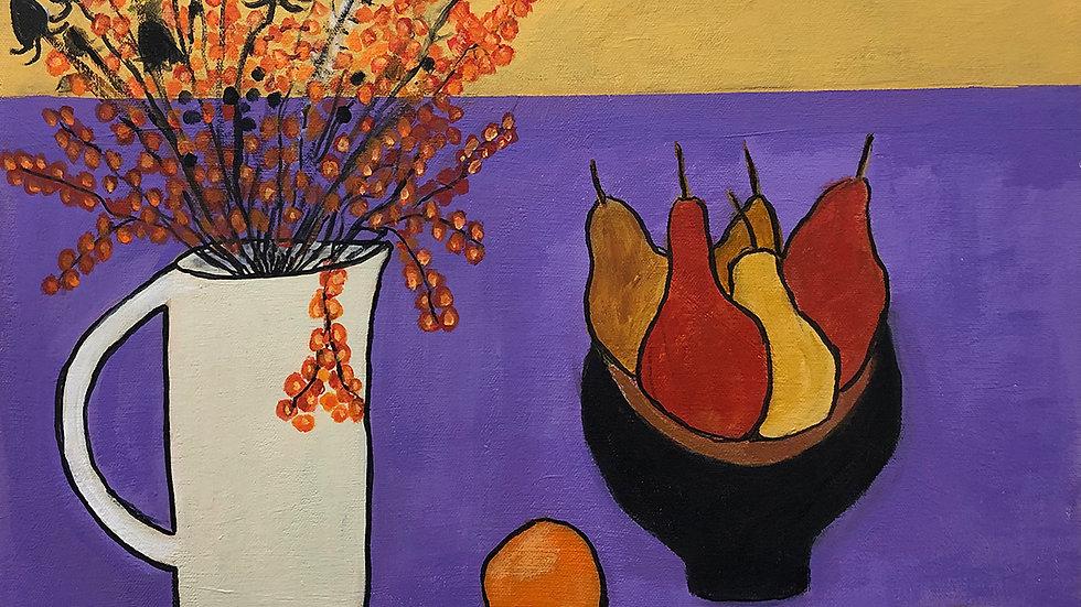 Liz Donald, Oranges Pears Berries, acrylic, 18x18