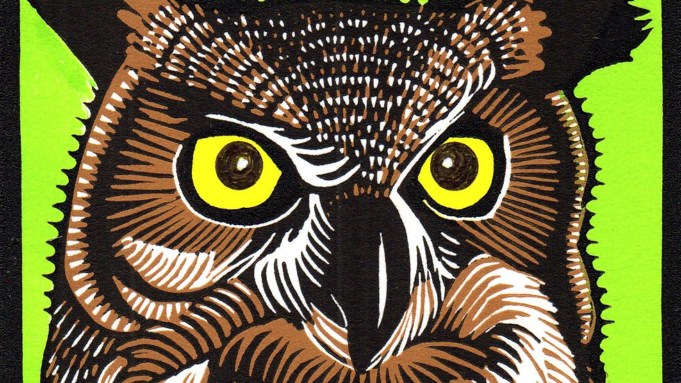 Leslie Moore, Great Horned Owl, linocut, 10x10 (frame size)