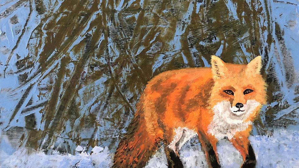 Sally Brophy, February Fox, acrylic, 6x6