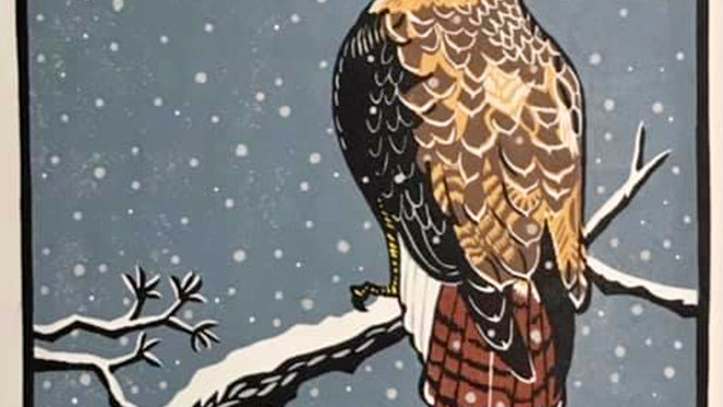 Leslie Moore, Red Tailed Hawk Snow, linocut, 23x25 (frame size)