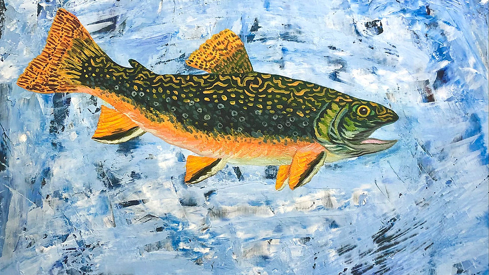 Sally Brophy, Brook Trout in Fast Water, acrylic, 12x12