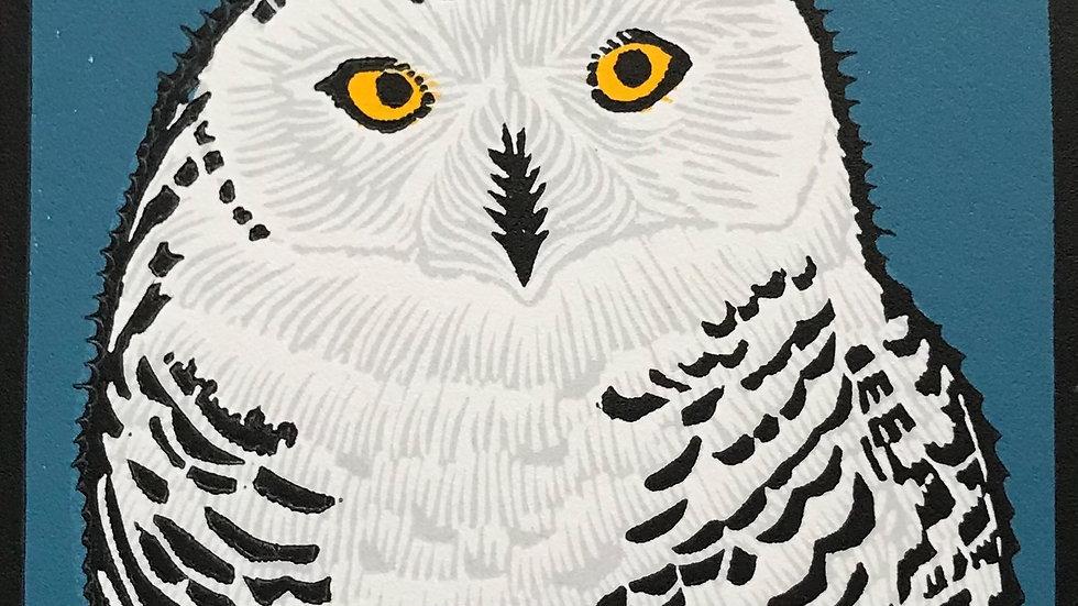 Leslie Moore, Snowy Owl, linocut, 10x10 (frame size)