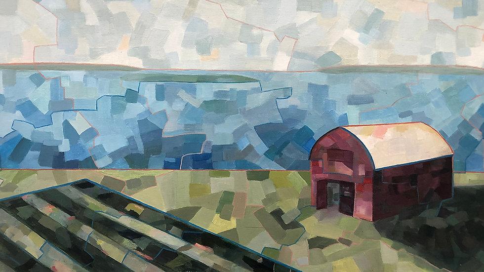 Debbie Mitchell, Red Barn, oil, 12x24