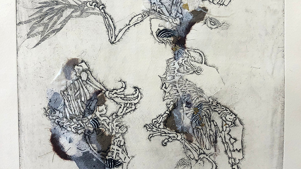MF Morison, Techtonic Shift, etching chine colle, 24x18