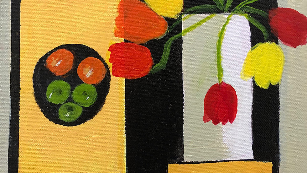 Liz Donald, Tulips and Fruit, acrylic, 8x8