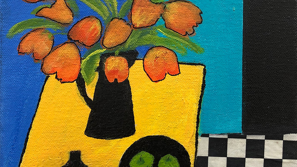 Liz Donald, Tulips and Apples, acrylic, 8x8