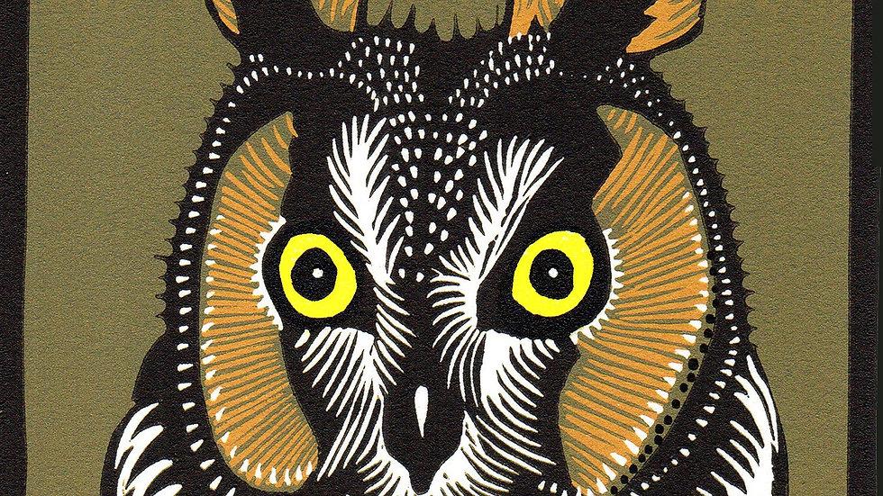Leslie Moore, Long Eared Owl, linocut, 10x10 framed