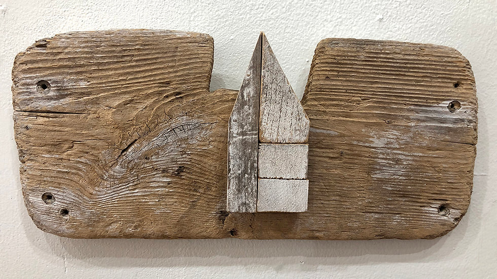 Conny Hatch, Daybreak, found wood, 6x14