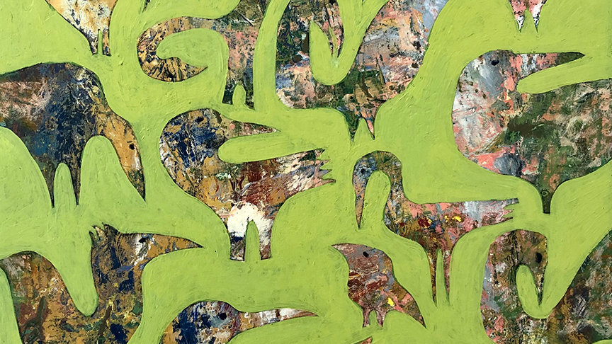 Sally Brophy, Funny Flock, acrylic, 8x8