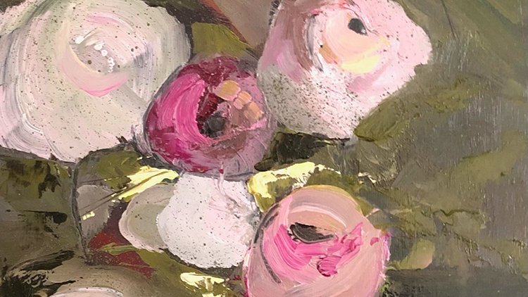Betty Schopmeyer, Roses Are Coming, oil, 16x8