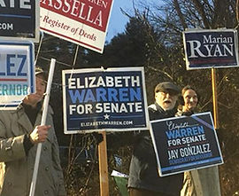 Holding Signs for Candidate on Voting Day 2018