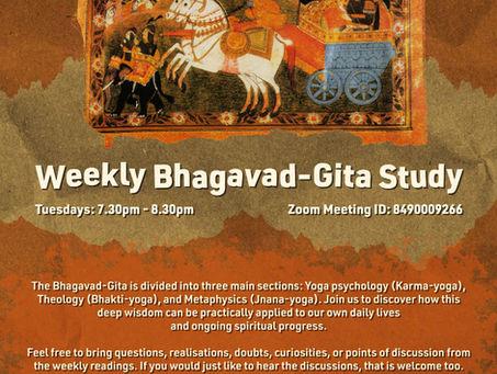 Tuesday 9th March - 'Bhagavad-Gita' 1.39 - 1.46 study
