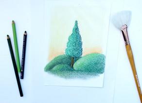 Time Lapse de Ilustração: Árvore em Pastel Seco