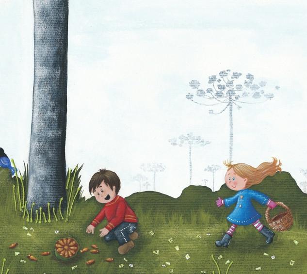 Araucárias e crianças catando pinhões