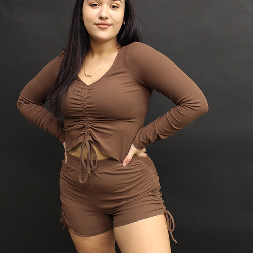 Ruched Mocha Top