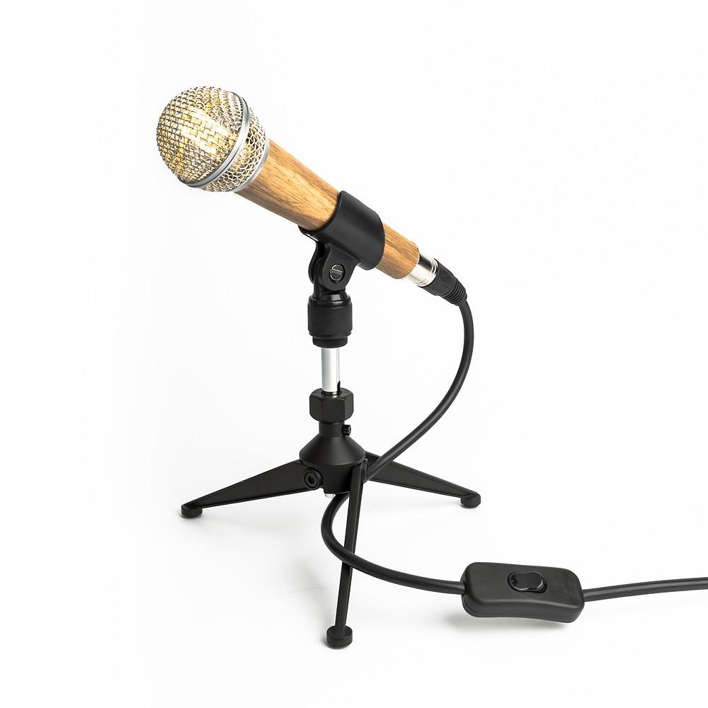 Handmade Wooden Microphone Lamp, Rustic Microphone Lamp