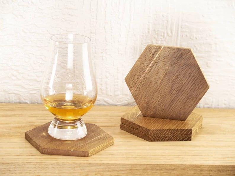 Reclaimed Whiskey Barrel Coasters - Handmade Wooden Coasters