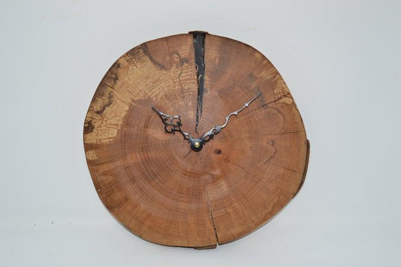 Wooden Wall Clock, Beech Live Edge Clock